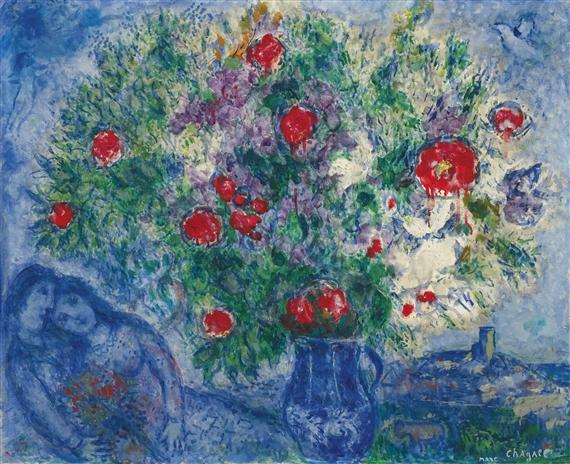 Chagall Marc Le Vase Bleu 1978 Mutualart