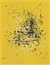 Georges Mathieu, Composition noir et blanc sur jaune (Black and white composition on yellow)