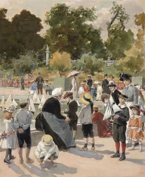French School 19thcentury Enfants Jouant Aux Bateaux Dans Les