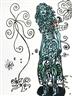 Robert Combas, La fille bleue dans un monde merveilleux blanc et naïf rempli de dessins enfantins