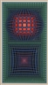 Victor Vasarely, Untitled, op art in shades of blue, green and red