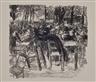 Max Liebermann, Konovlut of two woodcuts on wove paper, market / beer                            garden