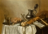 Pieter Claesz, Still life with rummer, wine glass, crab and bread on a platter, with a violin and a flute on a table
