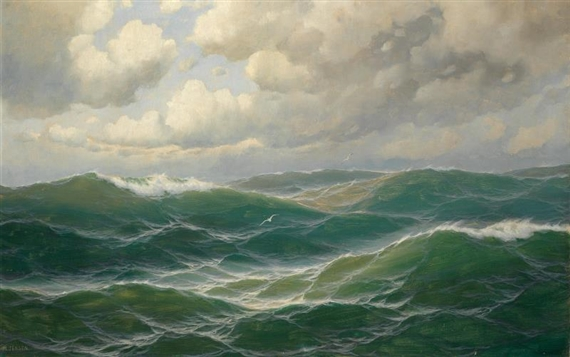 Max Jensen Seagulls Over The Waves Oil On Canvas