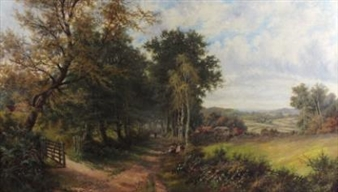2 Works: Summer Landscape with Figures and a Dog; Wooded Lane with a Figure Beside Silver Birch Trees and a Cottage By Octavius T. Clark