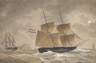 Roux Antoine Voilier A Deux Mats Tancredi De Malte Aux Abords Du Port De Marseille 1819 Mutualart