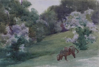 A Summer Landscape with Grazing Cow By Mildred Anne Butler