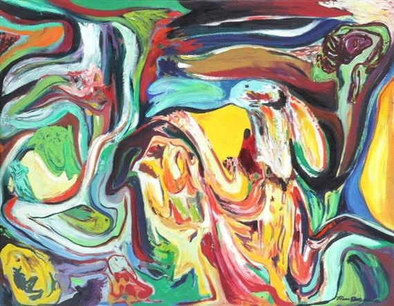 Finn Pedersen Abstract Composition Canvas