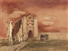 Millard Sheets, 'Oaxaca Ruins, mission with figures