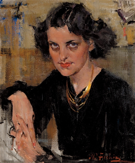 Fechin nicolai lady in black mutualart for Nicolai fechin paintings for sale