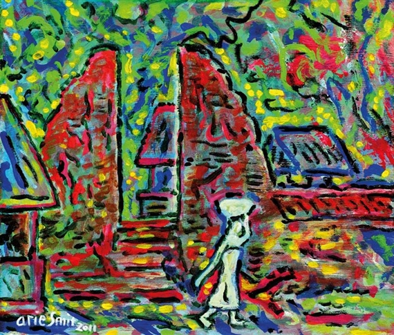 Arie Smit The Village Temple 2001 Acrylic On