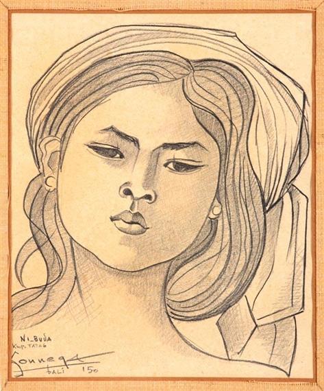 Auke Cornelis Sonnega Ni Buda 1950 Pastel On Paper