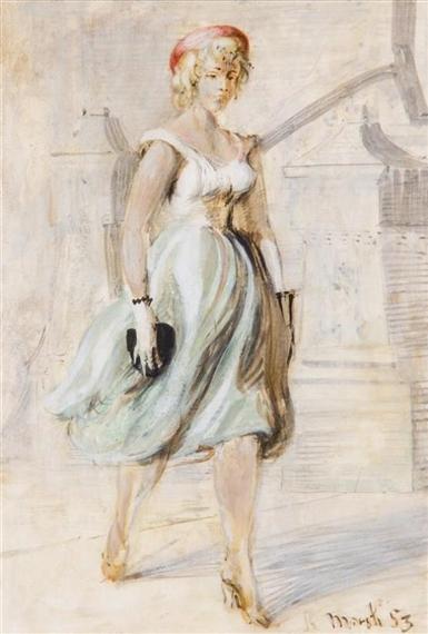 Reginald Marsh Girl In Blue Skirt 1953 Oil On