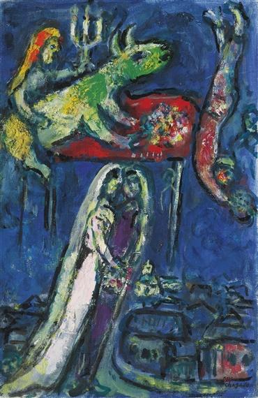 Chagall Marc   LES MARIÉS À L\'ÂNE VERT (1967)   MutualArt