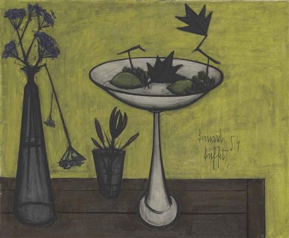 Buffet Bernard | Compotier et vase de fleurs (1954) | MutualArt