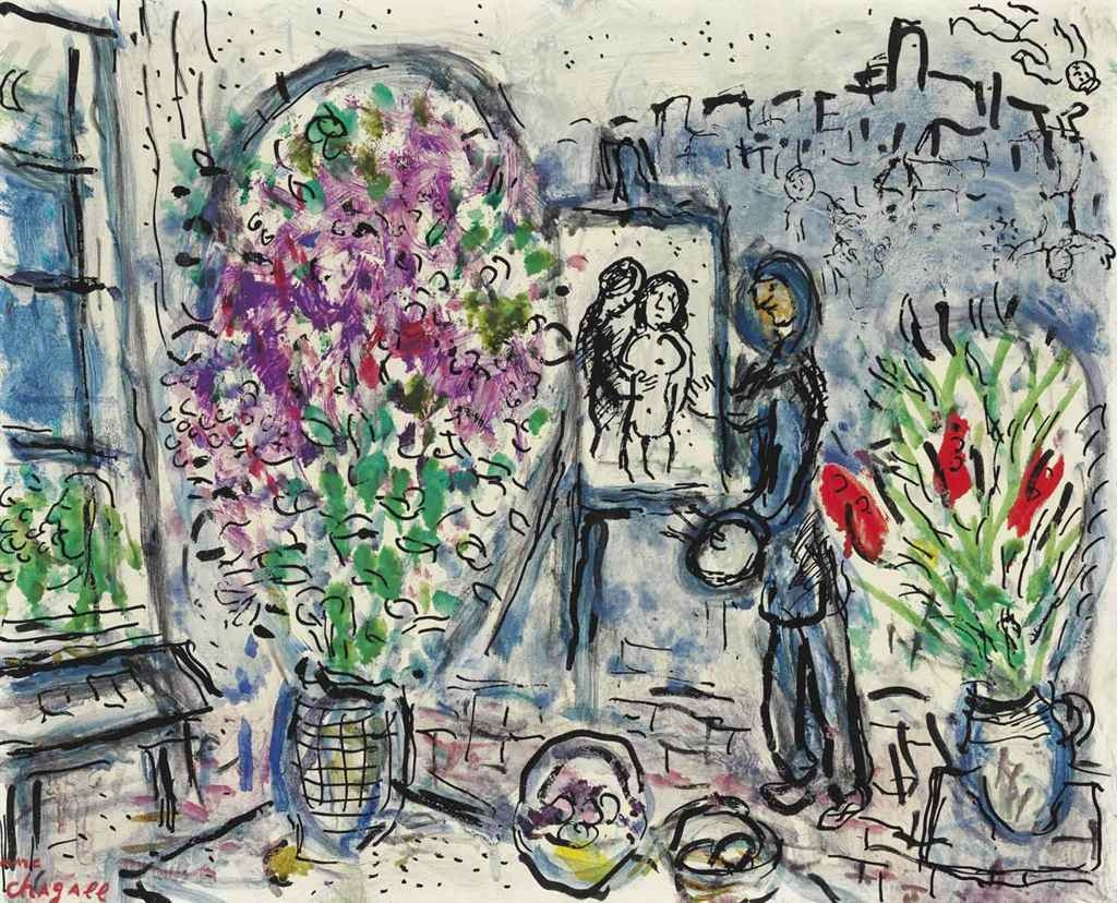 marc chagall l 39 atelier fleuri saint paul. Black Bedroom Furniture Sets. Home Design Ideas