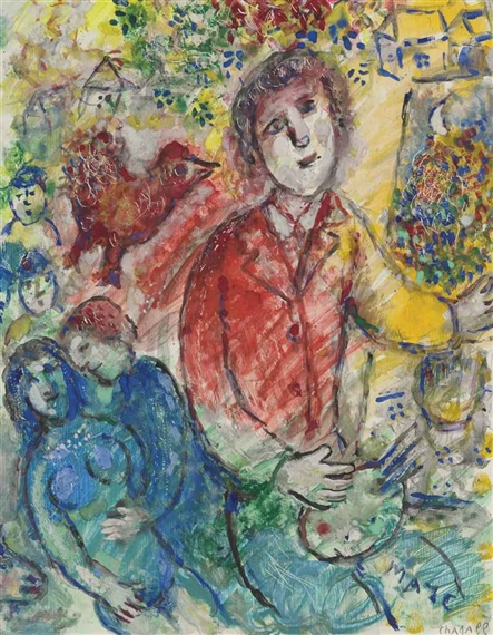 Chagall marc le peintre en rouge circa 1981 mutualart for Chagall peintre