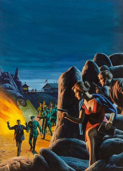 Kunstler Morton   Ambush Behind the Rocks, Stag Magazine Cover (1965