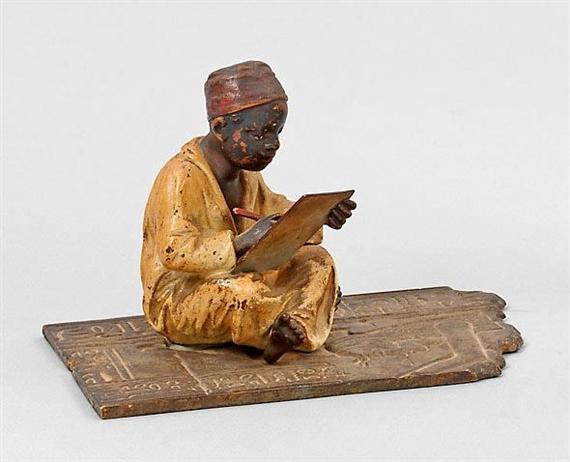 bergmann franz a rare vienna bronze of an arab school boy 1900 mutualart. Black Bedroom Furniture Sets. Home Design Ideas