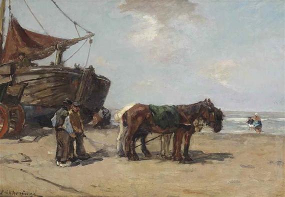 Jan Akkeringa Horses On The Beach Oil On Panel