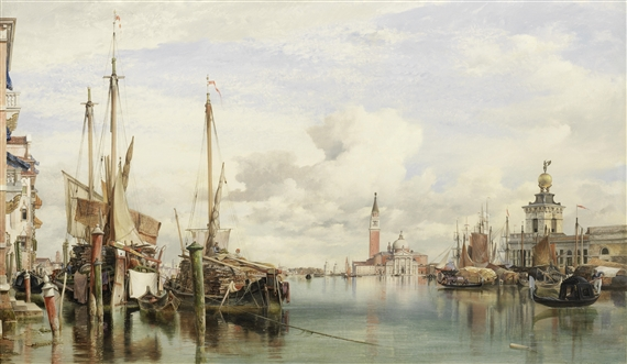 Edward William Cooke, Trabaccoli carrying wood, San Giorgio Maggiore and the Dogana beyond