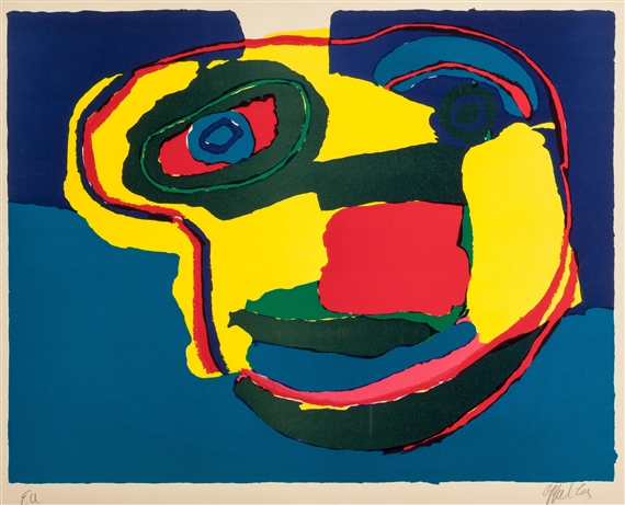 karel appel visage jaune 1969 lithograph in. Black Bedroom Furniture Sets. Home Design Ideas