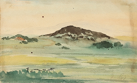 Artwork by Gaganendranath Tagore, Murabati Pahar, Made of Watercolour on paper pasted on mountboard