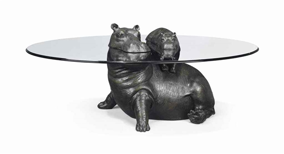 Stoddart Mark Mother Baby Hippo Occasional Table MutualArt - Hippo coffee table