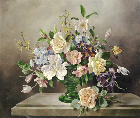Clayton Harold Still Life Of Flowers In A Green Glass Vase Mutualart