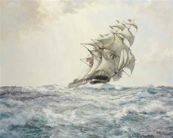 Montague Dawson, The Glorious American - The 'Constitution'