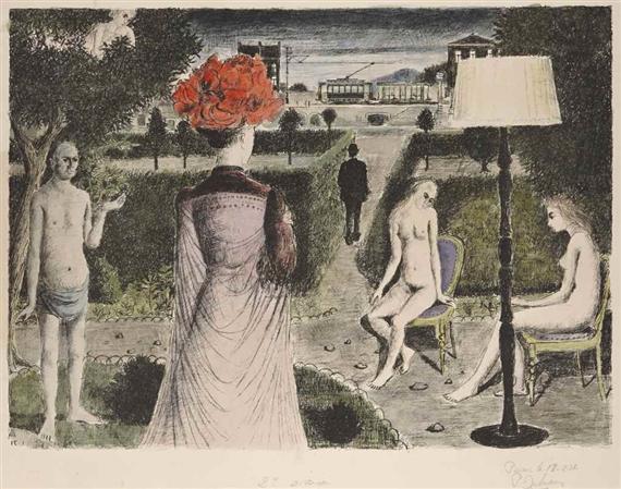 Paul delvaux julie et son amie 1967 for Paul delvaux le miroir