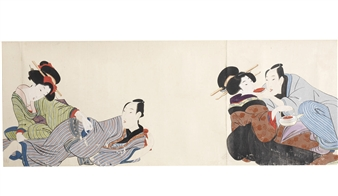 Makimono Depicting 20 Erotic Scenes Of Couples The Majority Making Love Including A Young Middle Class Couple Beside Go Game Board Geisha Holding