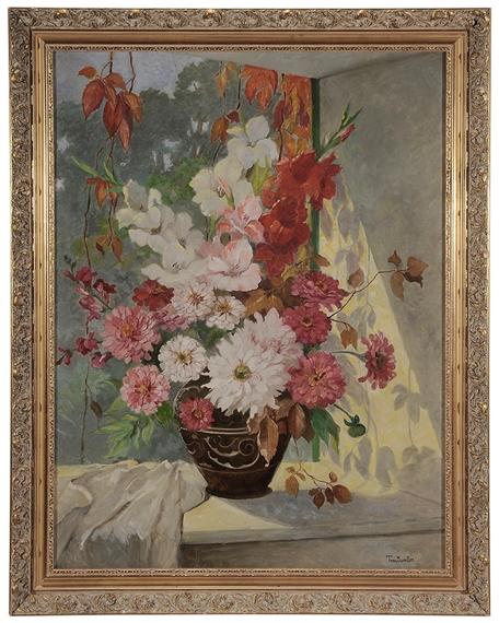 Stefanie von Trauttweiler | Still Life with Vase of Zinnias and ...
