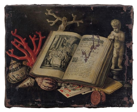 Simon renard de saint andre still life with the fourth book of the imitation of christ mutualart - Vanite simon renard de saint andre ...