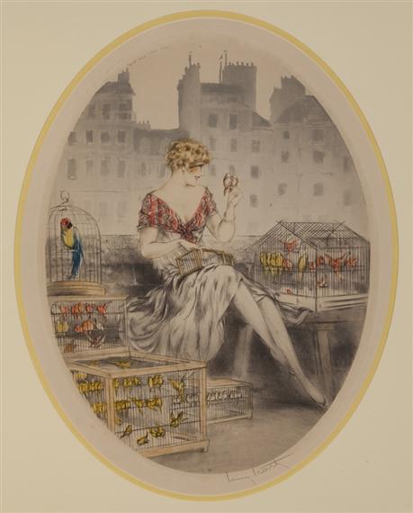 Louis Icart, Marchande d'Oiseau (Bird Seller)