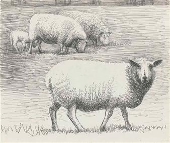 Henry Moore Sheep In Landscape 1972 Ballpoint Pen