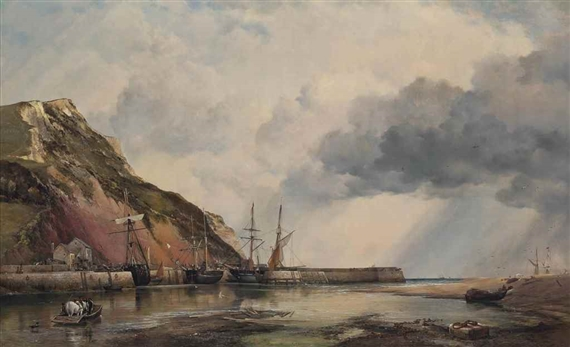 Edward William Cooke, Axmouth Harbour, Devon, low water