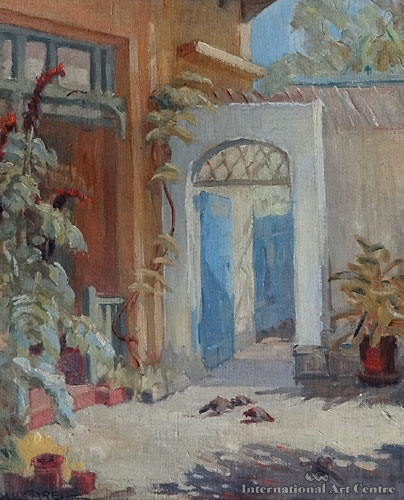 Courtyard, Italy, Oil On Canvas