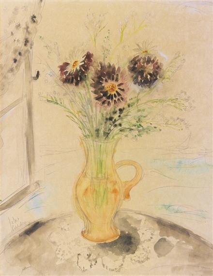 Rubin Reuven Vase With Flowers 1938 Mutualart
