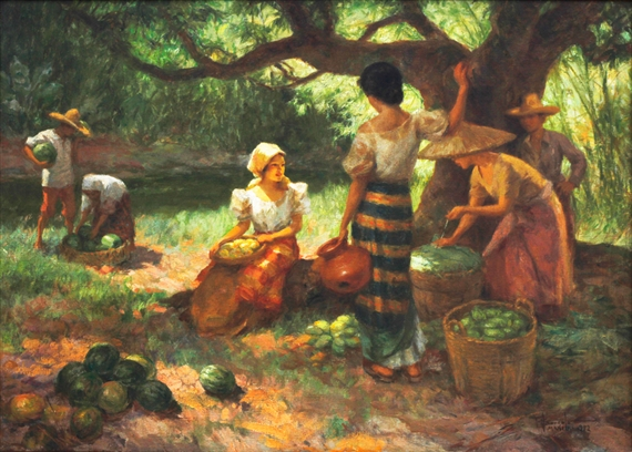 Artwork by Fernando Amorsolo, Under the Mango Tree, Made of oil on canvas