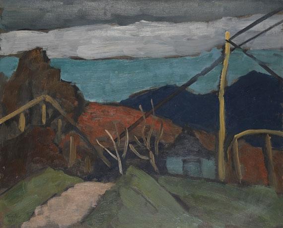 Artwork by Gabriele Münter, Abend bei Fürstalm, Made of Oil on cardboard