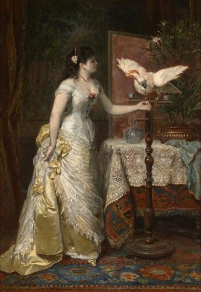 Herman Maurice Cossmann | Elégante à l\'ara blanc dans un intérieur ...
