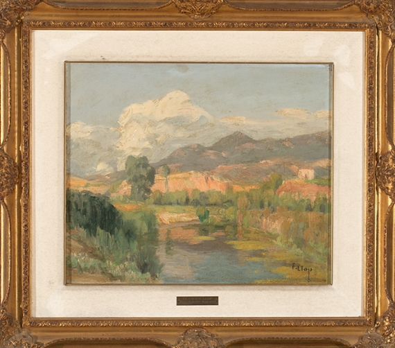 "Artwork by Francisco Llop Marqués, 2 works: Paisaje y Paisaje de Tortosa (""Llacuna""), Made of Oil on cardboard and oil on board"