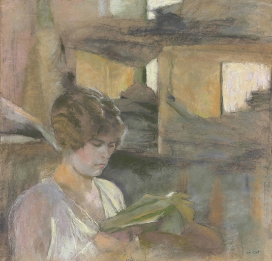 Artwork by Édouard Vuillard, Young Woman Reading, Made of pastel on paper
