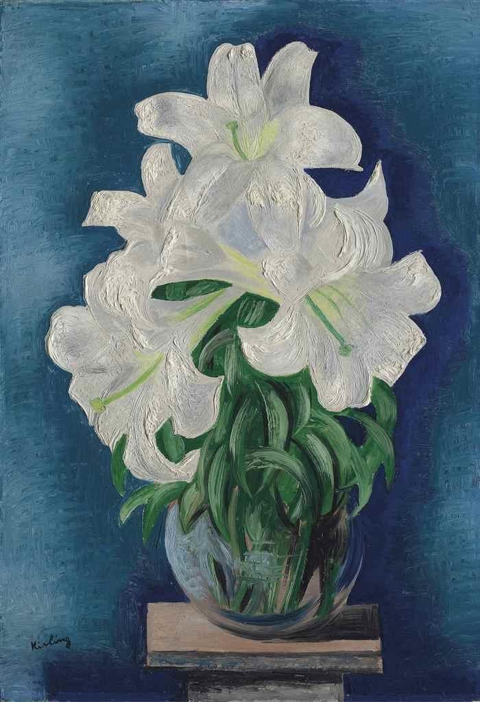 Moise kisling bouquet de lys 1932 oil on canvas for Bouquet de lys