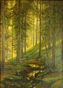 Ivan Shishkin Wooded Landscape Oil On Canvas