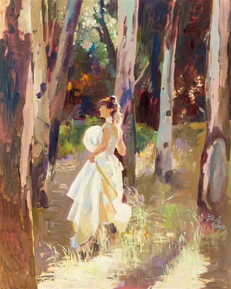 Neil Boyle - Lady in Woods, Oil on canvas