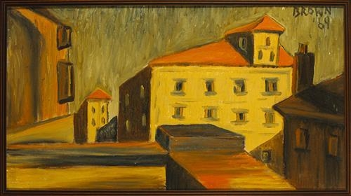 Artwork by Christy Brown, BUILDING TOPS, Made of oil on board