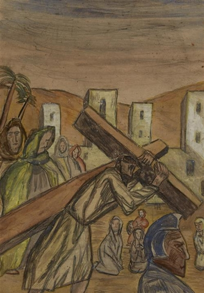 Artwork by Christy Brown, TRAVELLING THE ROAD TO GOLGOTHA, Made of watercolour over pencil