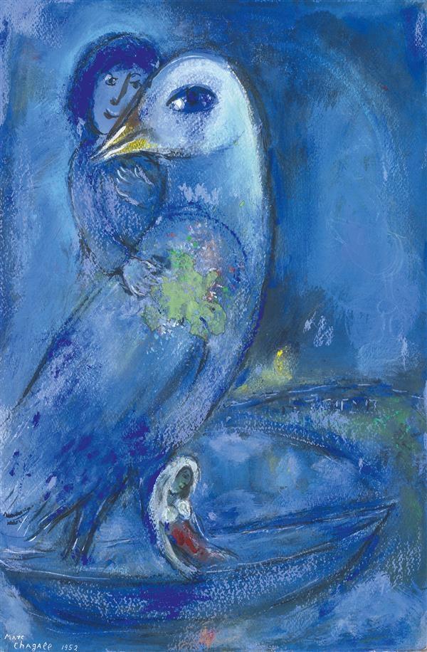 marc chagall l 39 oiseau bleu 1952 gouache and. Black Bedroom Furniture Sets. Home Design Ideas